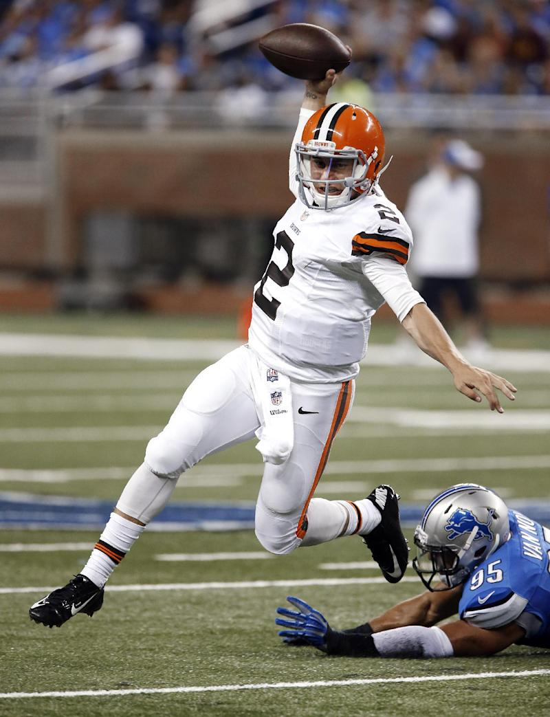 Manziel solid in debut, Browns fall to Lions 13-12