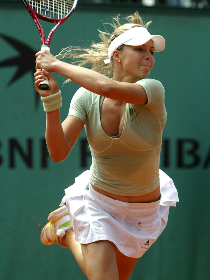 Maria Kirilenko of Russia during her 6-2, 7-6, defeat by Anna-Lena Groenfeld of Germany  in the third round of the 2006 French Open in Paris, France on June 2, 2006 (Photo by Cynthia Lum/WireImage)