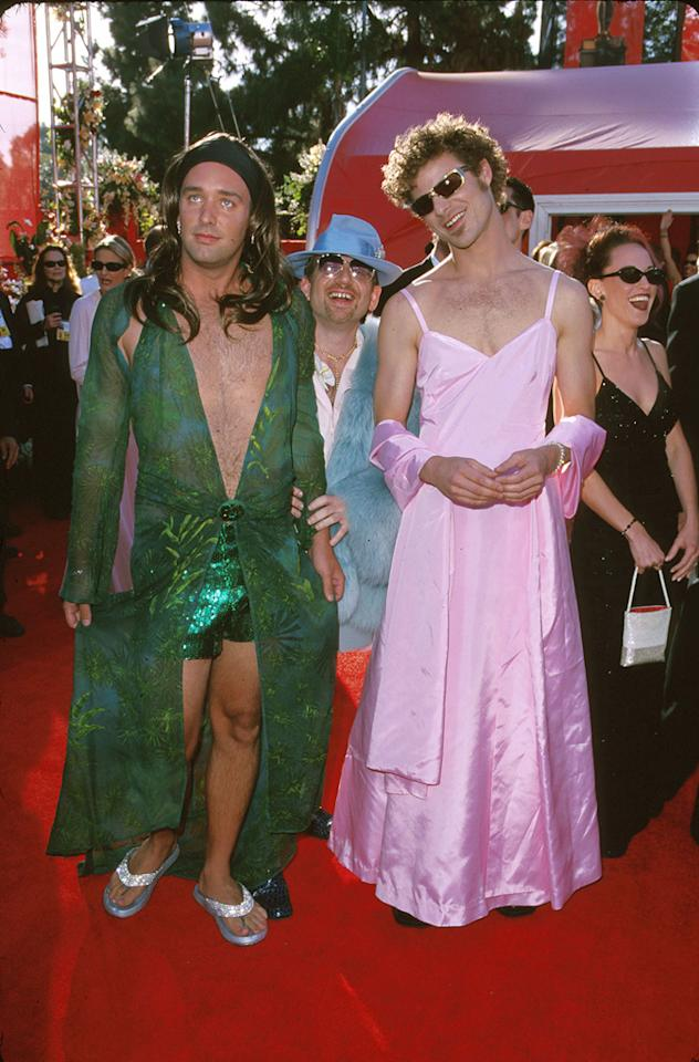 """The """"South Park"""" guys show up in drag (2000): Trey Parker and Matt Stone arrived to support the feature film version of their animated series, """"South Park: Bigger, Longer & Uncut,"""" which earned Parker and Marc Shaiman an original-song nomination for the jaunty """"Blame Canada."""" But they couldn't just wear tuxes like everyone else. Since they've made a career out of skewering celebrities, Stone donned a replica of the pink gown Gwyneth Paltrow wore a year earlier when she won best actress for """"Shakespeare in Love,"""" while Parker wore a knock-off of the plunging green Versace number Jennifer Lopez famously filled out at the Grammys. So much chest hair ... and so hilarious."""
