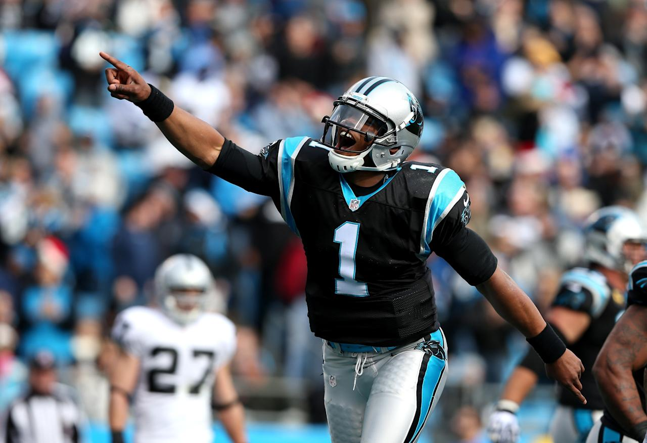 CHARLOTTE, NC - DECEMBER 23:   Cam Newton #1 of the Carolina Panthers celebrates after throwing a touchdown pass to teammate Steve Smith #89 during their game against the Oakland Raiders at Bank of America Stadium on December 23, 2012 in Charlotte, North Carolina.  (Photo by Streeter Lecka/Getty Images)