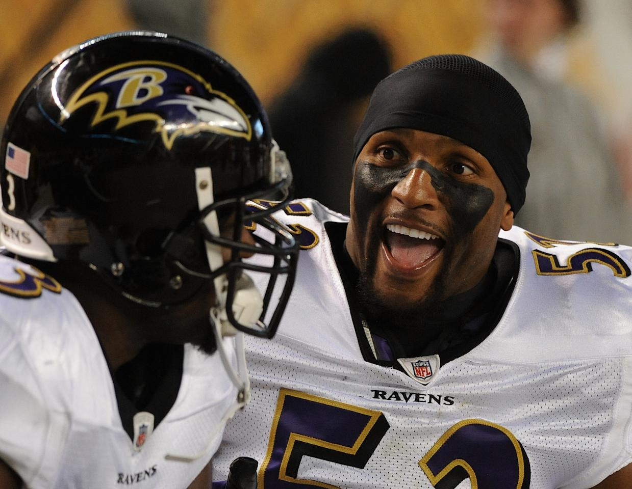 PITTSBURGH, PA - NOVEMBER 6: Linebacker Ray Lewis #52 of the Baltimore Ravens talks to a teammate on the sideline during a game against the Pittsburgh Steelers at Heinz Field on November 6, 2011 in Pittsburgh, Pennsylvania. The Ravens defeated the Steelers 23-20. (Photo by George Gojkovich/Getty Images)