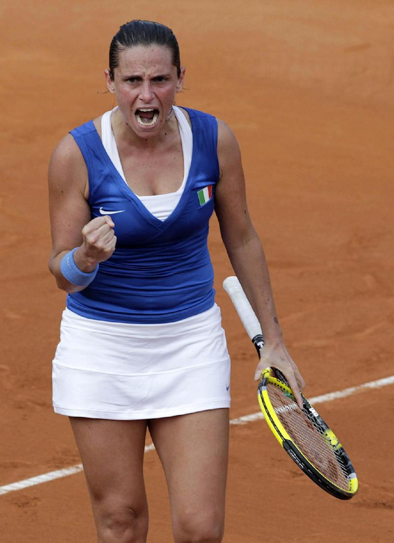 Italy leads Russia 2-0 in Fed Cup final