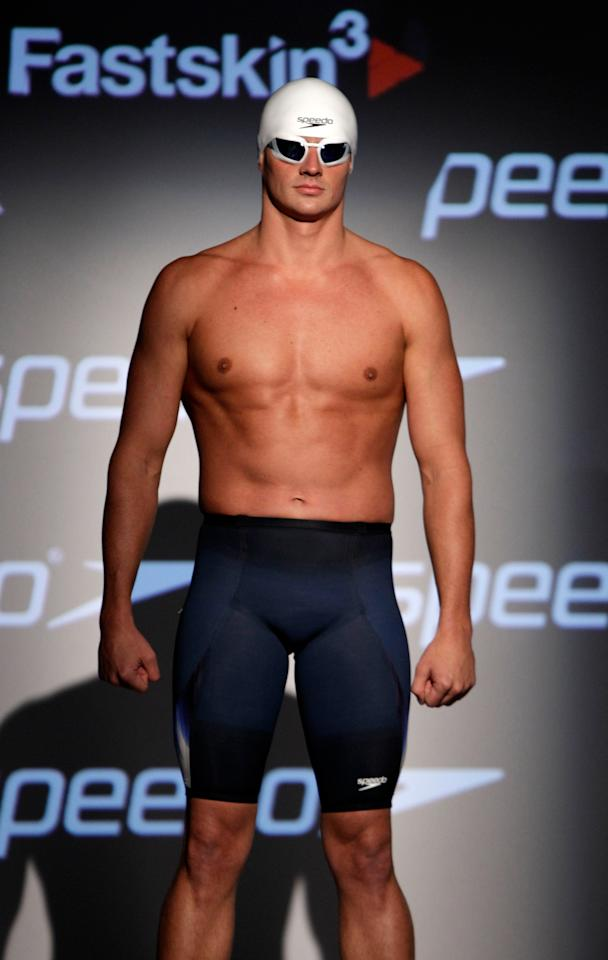 Olympic medalist Ryan Lochte models Speedo's new Fastskin 3 swimsuit during a news conference in New York, Wednesday, Nov. 30, 2011. (AP Photo/Kathy Willens)