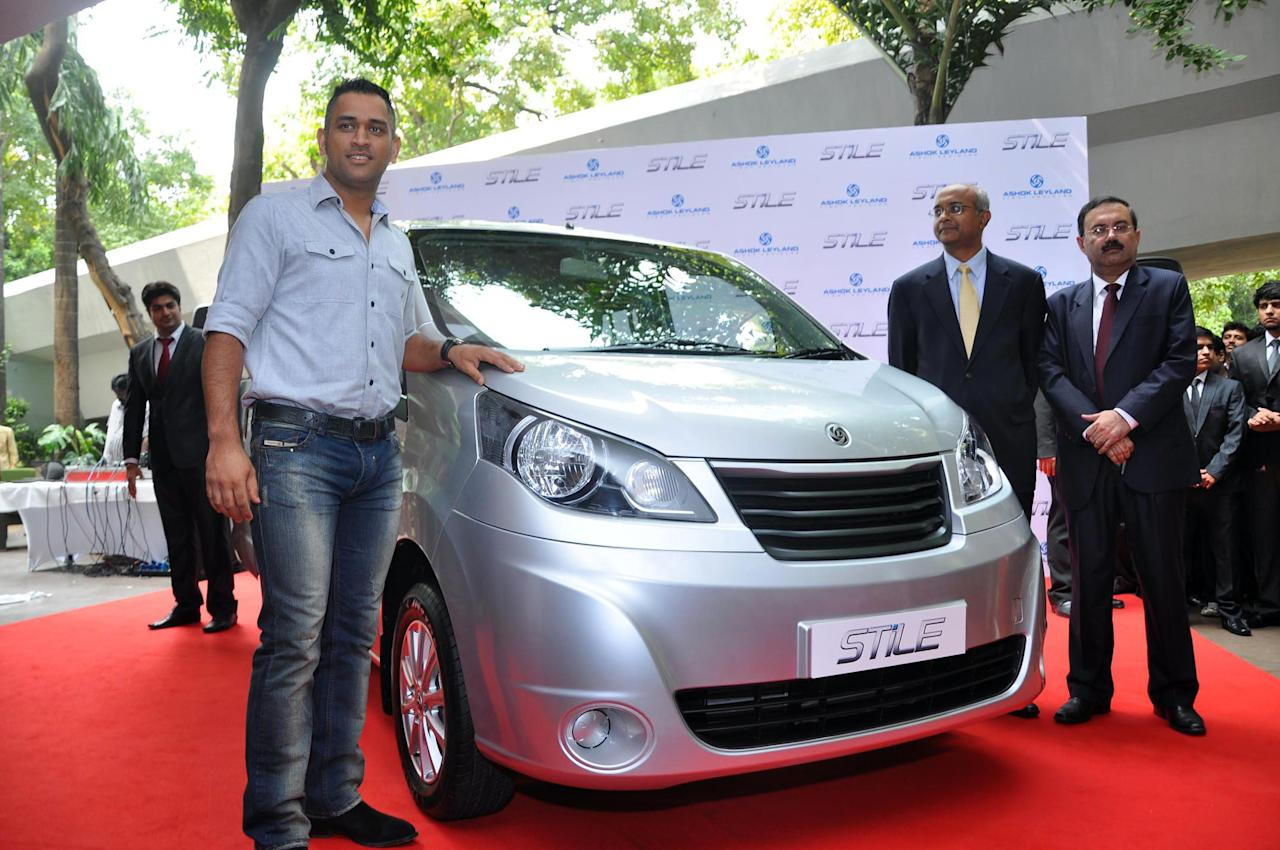 Indian Cricket team Captain M S Dhoni at the launch of Ashok Leyland car in New Delhi on Oct.7, 2013. (Photo: IANS)