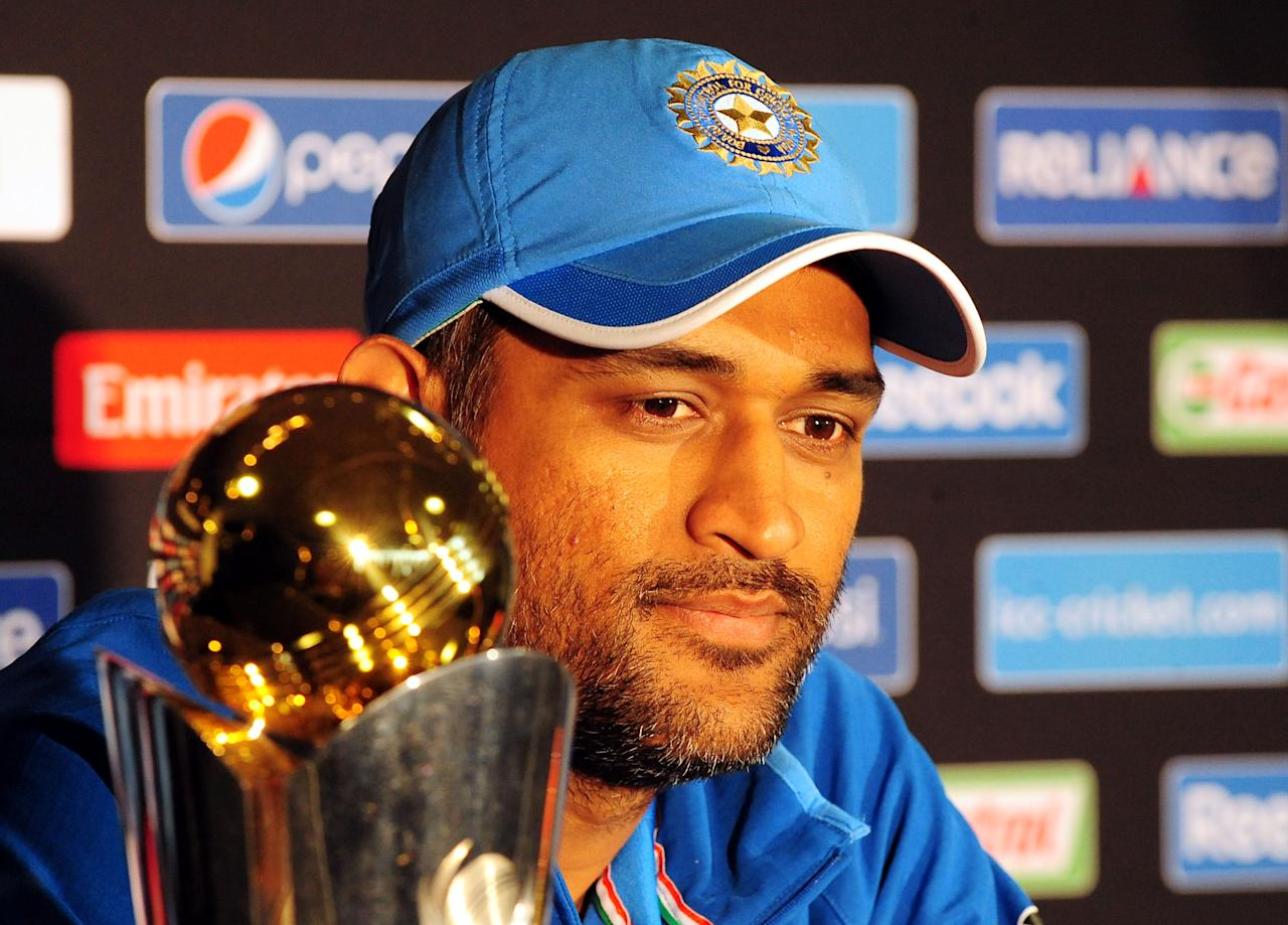 India's Mahendra Singh Dhoni during a press conference at Edgbaston, Birmingham.