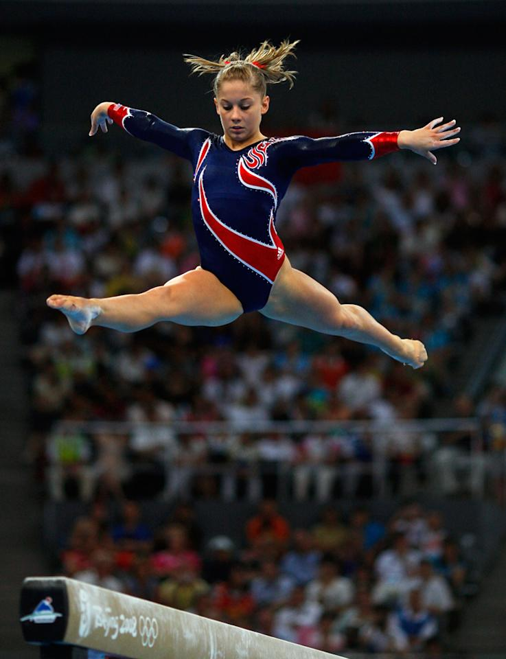 Shawn Johnson of the Untied States competes in the Women's Beam Final at the National Indoor Stadium on Day 11 of the Beijing 2008 Olympic Games on August 19, 2008 in Beijing, China.