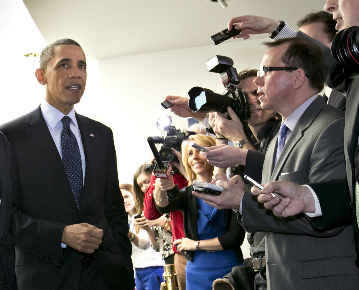 <p>               President Barack Obama turns to reporters as he leaves  Capitol Hill in Washington, Wednesday, March 13, 2013, after his closed-door meeting with House Speaker John Boehner and Republican lawmakers to discuss the budget.  (AP Photo/J. Scott Applewhite)