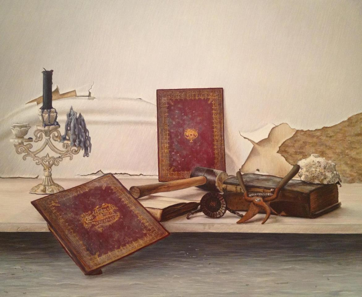 """This undated image provided by John Gordon Gauld shows the Brooklyn artists' """"Wildflowers and Their Teachings, """" a still life painting depicting the remnants of his flooded studio: Rusted tools and damaged books against a crumbling, peeling and moldy wall. Many New York City artists are still dealing with the shock of what Superstorm Sandy left in its path: Unusable studios and homes, destroyed tools and materials, unsalvageable artworks. But others, including Gauld, are discovering a new energy and renewed creativity in its wake. Nearly two dozen artists are showcasing their storm-related works at a New York City gallery. """"After Effects"""" in Chelsea opens Friday Feb. 8 and runs through Feb. 24. (AP Photo/John Gordon Gauld)"""