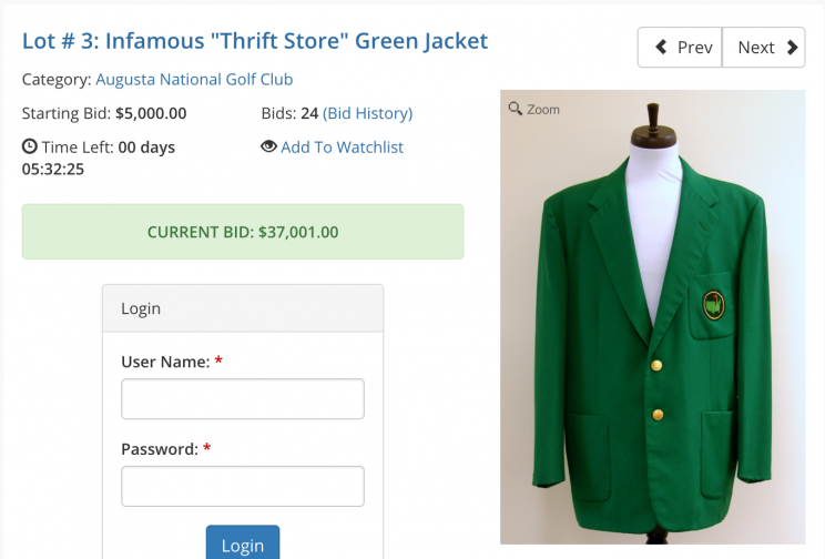 Masters Green Jacket Is Going On Auction,Masters green jacket up for auction and it isn't cheap Augusta National green jacket bought at thrift store nabs big bucks at auction Masters Green Jacket Is Going On Auction,