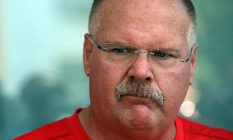 Kansas City Chiefs head coach Andy Reid speaks with the media Sunday afternoon July 20, 2014 in St. Joseph, Mo. Kansas City Chiefs rookies and quarterbacks arrived at the Missouri Western State University campus Sunday for the 2014 training camp. This is the fifth year the Chiefs have held camp in St. Joseph