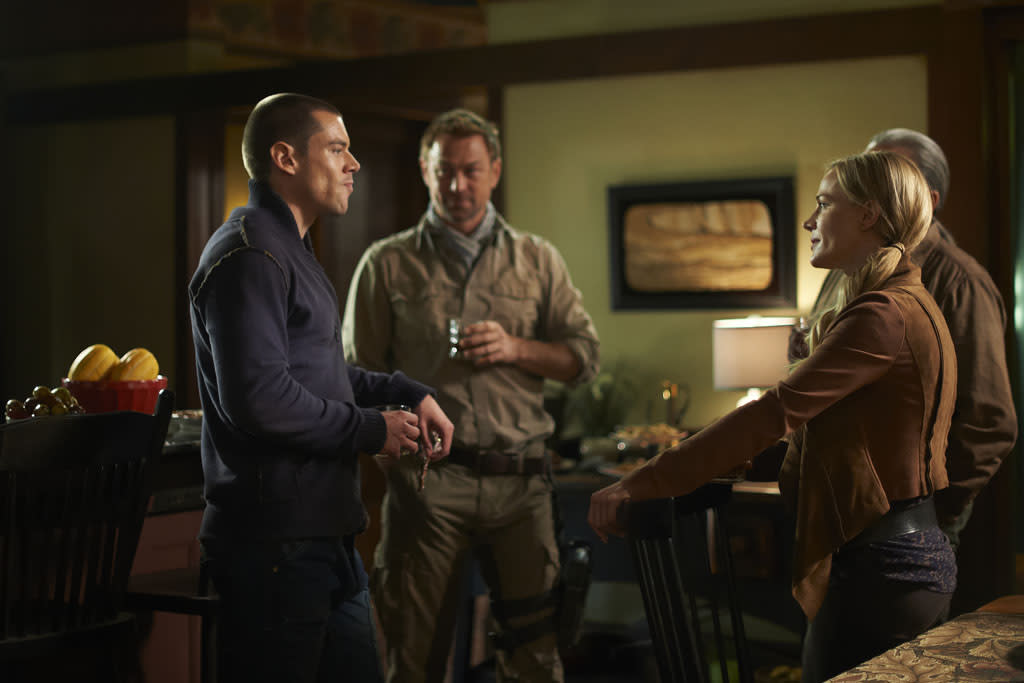 "Brian J. Smith as Gordon McClintock, Grant Bowler as Joshua Nolan, and Julie Benz as Amanda Rosewater in the ""Defiance"" episode, ""I Just Wasn't Made for These Times."""