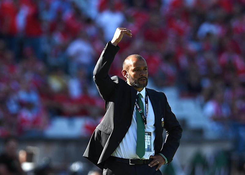 Rio Ave's coach Nuno gestures during the Portuguese Cup final match against Benfica at Jamor stadium in Oeiras, outskirts of Lisbon on May 18, 2014