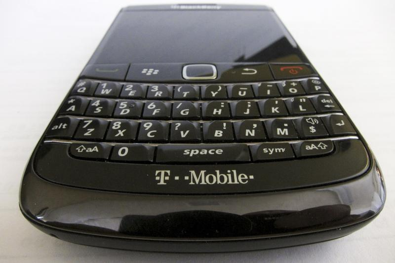 A T-Mobile branded BlackBerry smart phone is pictured in Hoboken, New Jersey