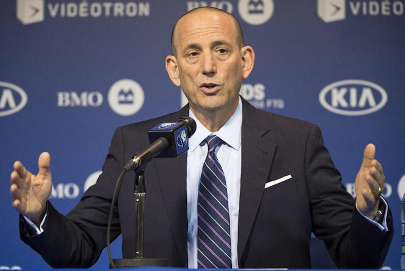 MLS Commissioner Don Garber speaks to reporters prior to an MLS soccer game between the Montreal Impact and DC United in Montreal, Wednesday, June 11, 2014
