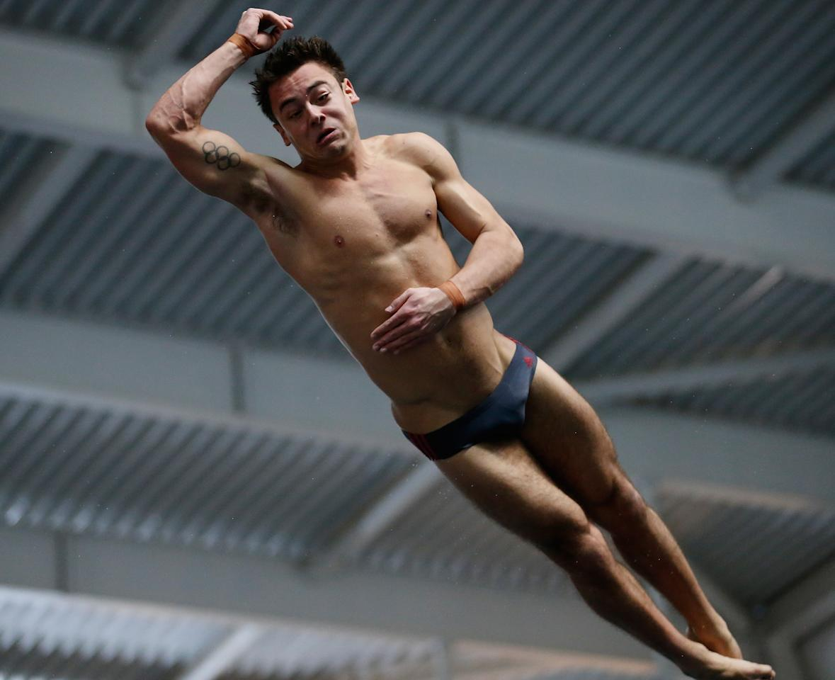 PLYMOUTH, ENGLAND - FEBRUARY 09:  Tom Daley dives during practice during day two of the British Gas Diving Championships on February 9, 2013 in Plymouth, England.  (Photo by Harry Engels/Getty Images)