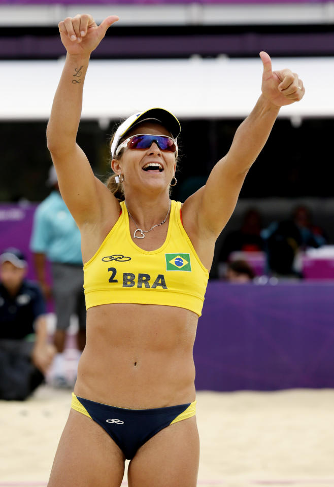 Brazil's Larissa Franca following a beach volleyball match against Mauritius at the 2012 Summer Olympics, Saturday, July 28, 2012, in London. (AP Photo/Dave Martin)
