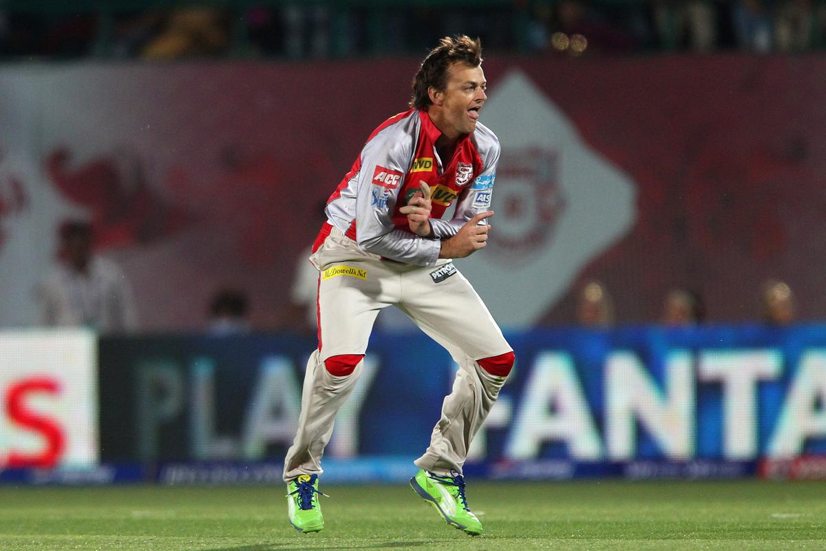 Adam Gilchrist celebrates the wicket of Harbhajan Singh during match 69 of the Pepsi Indian Premier League between The Kings XI Punjab and the Mumbai Indians held at the HPCA Stadium in Dharamsala, Himachal Pradesh, India on the on the 18th May 2013..Photo by Ron Gaunt-IPL-SPORTZPICS ..Use of this image is subject to the terms and conditions as outlined by the BCCI. These terms can be found by following this link:..http://www.sportzpics.co.za/image/I0000SoRagM2cIEc