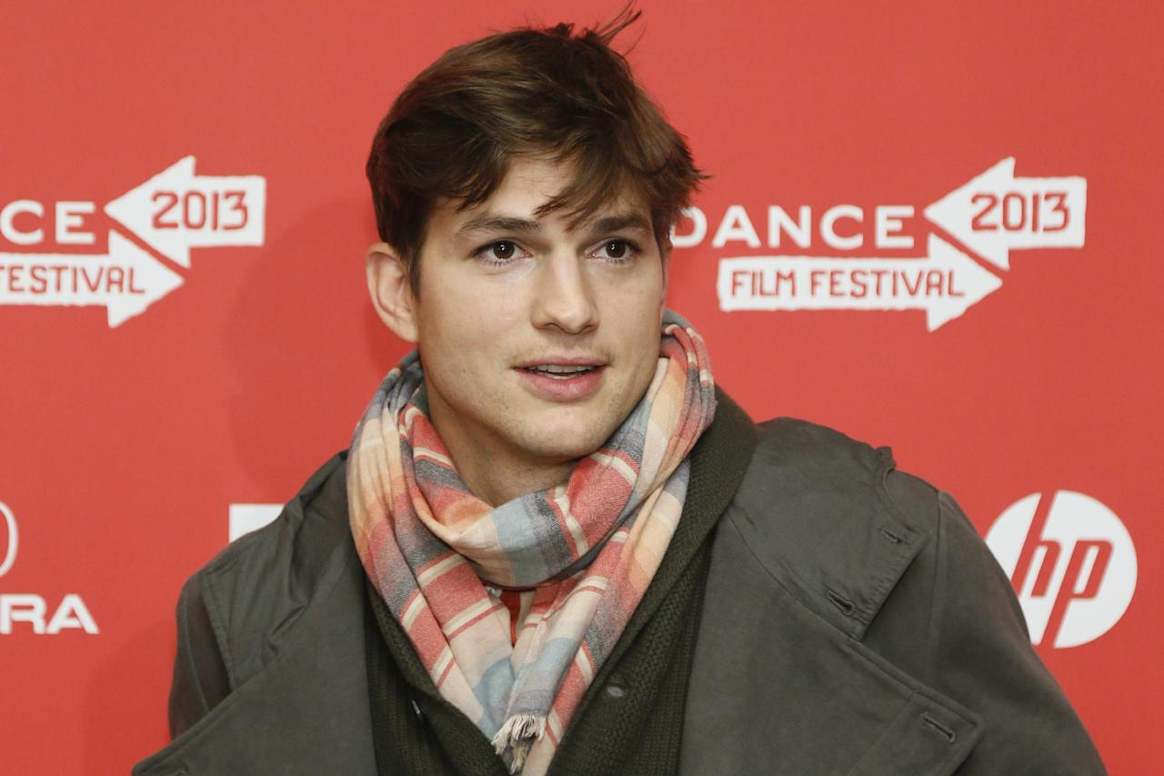 "Actor Ashton Kutcher, who portrays Apple's Steve Jobs in the film ""jOBS,"" poses at its premiere during the 2013 Sundance Film Festival on Friday, Jan. 25, 2013 in Park City, Utah. (Photo by Danny Moloshok/Invision/AP)"