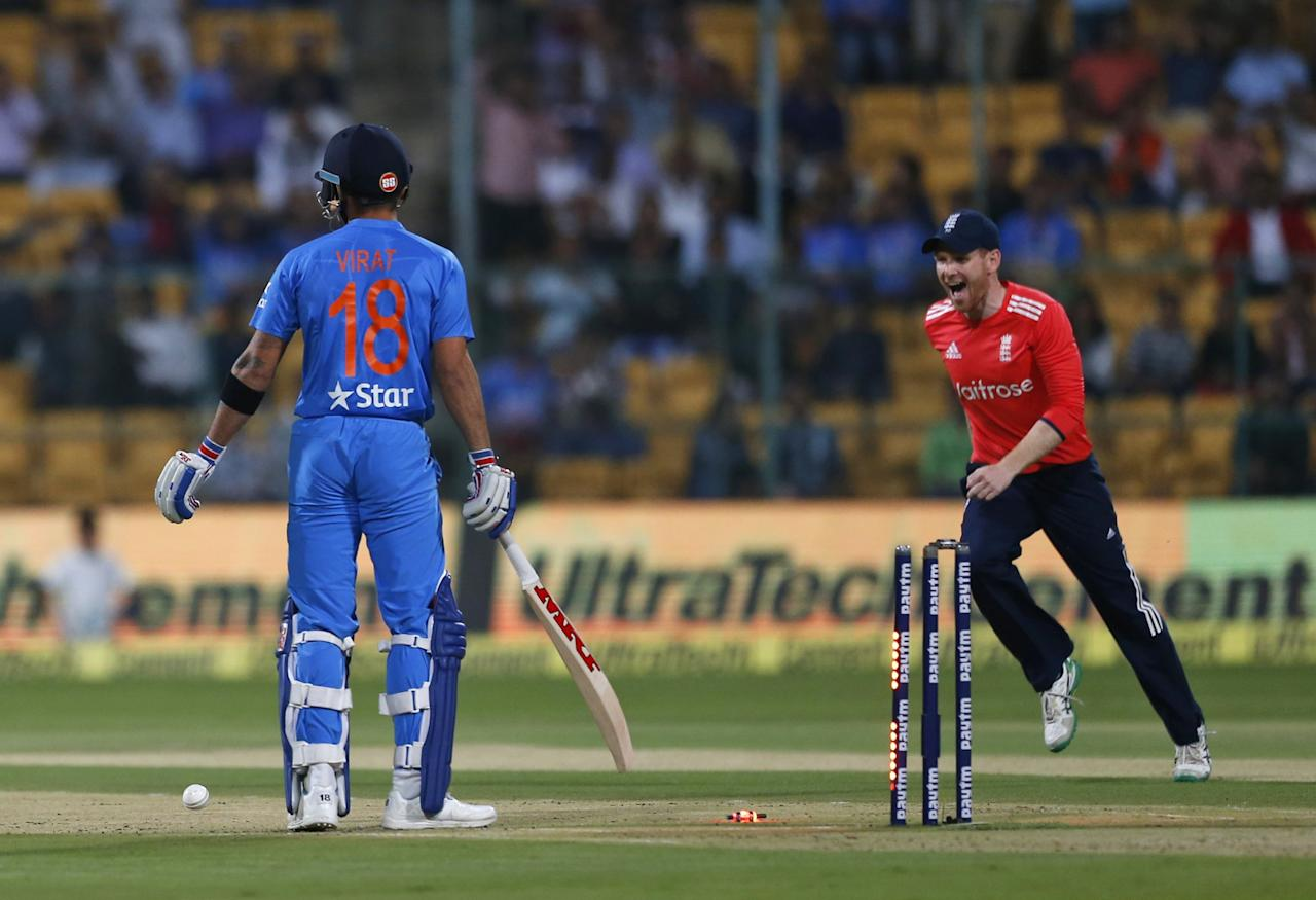 <p>4 – Number of times Virat Kohli has got run-out in a T20I game. He got out in the second over of the Indian innings. </p>