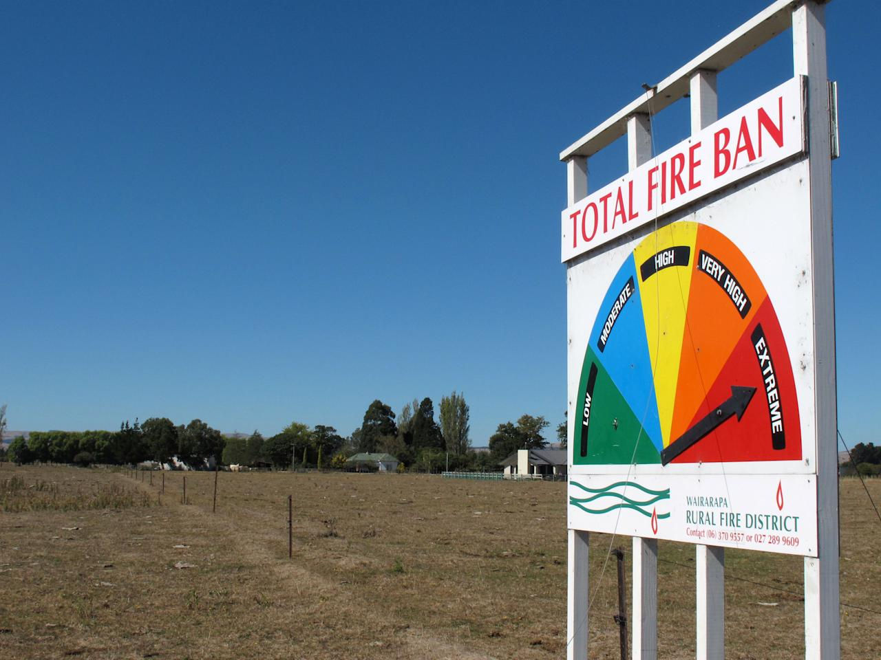 A sign warns about the risk of fire on Thursday, March 14, 2013, near Carterton, New Zealand. A drought in New Zealand's North Island is costing farmers millions of dollars each day and is beginning to take a toll on the country's economy. (AP Photo/Nick Perry)