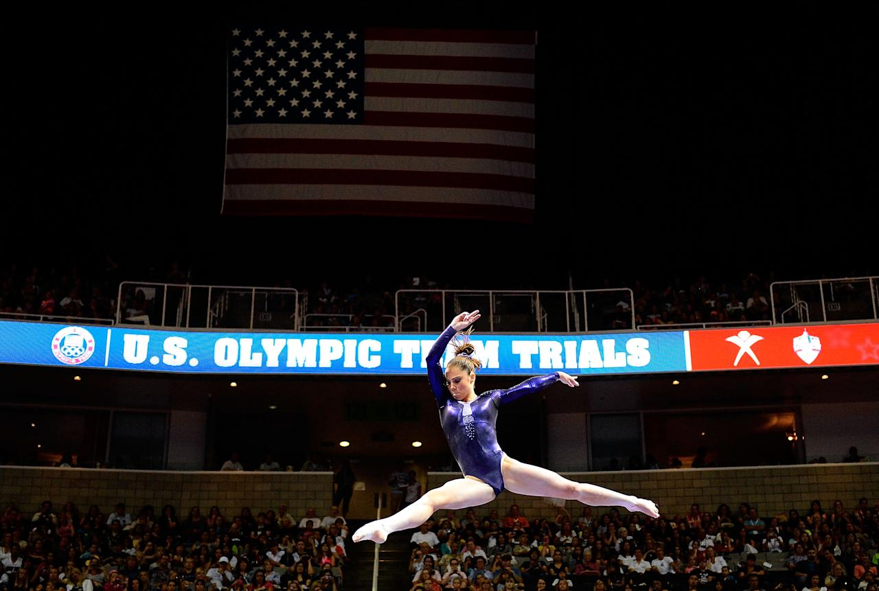 SAN JOSE, CA - JUNE 29:  McKayla Maroney competes on the beam during day 2 of the 2012 U.S. Olympic Gymnastics Team Trials at HP Pavilion on June 28, 2012 in San Jose, California.  (Photo by Ronald Martinez/Getty Images)