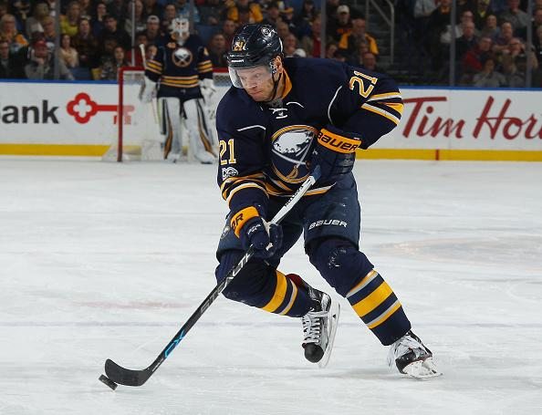 BUFFALO, NY - FEBRUARY 28: Kyle Okposo #21 of the Buffalo Sabres skates against the Nashville Predators during an NHL game at the KeyBank Center on February 28, 2017 in Buffalo, New York. (Photo by Bill Wippert/NHLI via Getty Images)