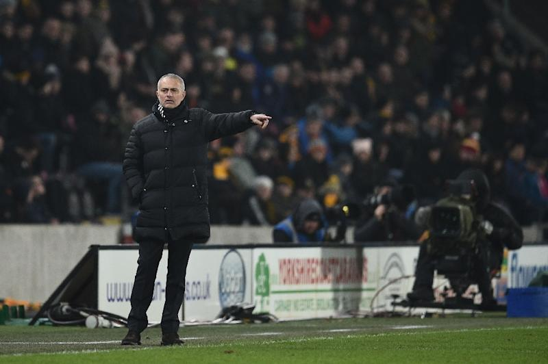 Manchester United's manager Jose Mourinho gestures during the EFL Cup semi-final second-leg football match against Hull City January 26, 2017