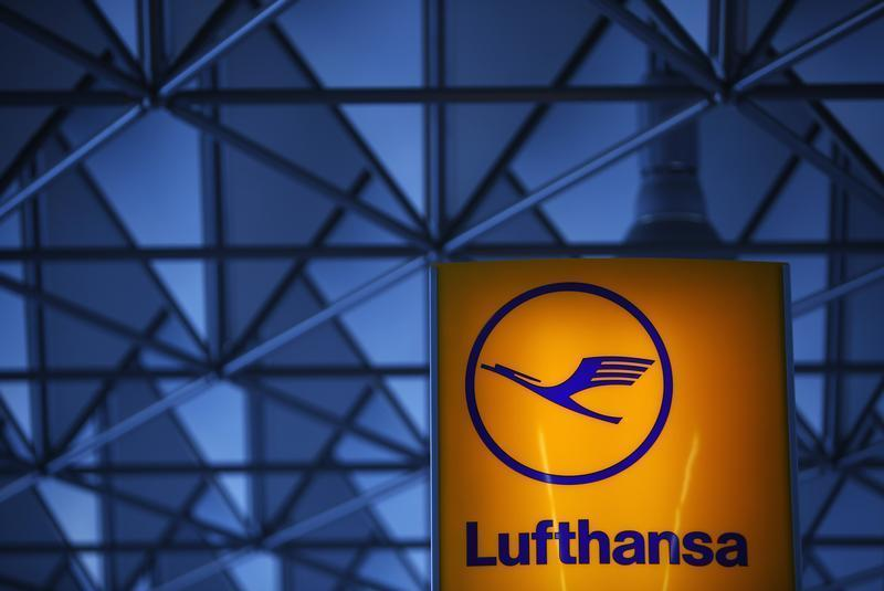 The logo of German air carrier Lufthansa is pictured at Fraport airport in Frankfurt