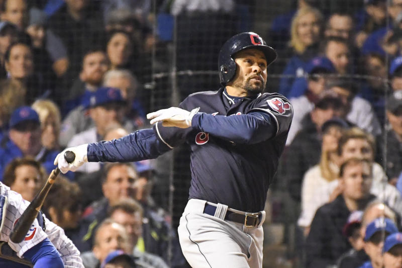 Coco Crisp (4) hits an RBI-single scoring pinch-runner Michael Martinez (not pictured) during the seventh inning in game three of the 2016 World Series against the Chicago Cubs at Wrigley Field. (Tommy Gilligan-USA TODAY Sports)