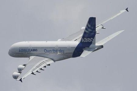 An Airbus A380 takes part in a flying display during the opening of the 50th Paris Air Show at Le Bourget airport near Paris