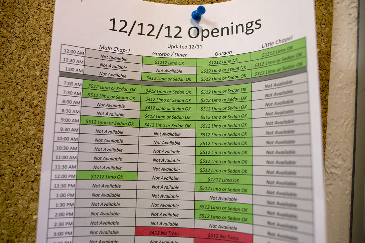 A schedule for weddings for Dec. 12, 2012 is pinned on a bulletin board at the Viva Las Vegas Wedding Chapel in Las Vegas.
