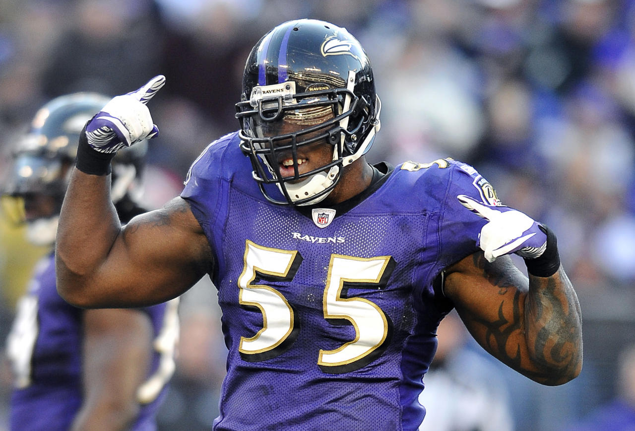 Baltimore Ravens outside linebacker Terrell Suggs dances during a break in play late in the second half of an NFL football game against the Indianapolis Colts in Baltimore, Sunday, Dec. 11, 2011. Suggs had three sacks and forced three fumbles in Baltimore's 24-10 win.(AP Photo/Gail Burton)