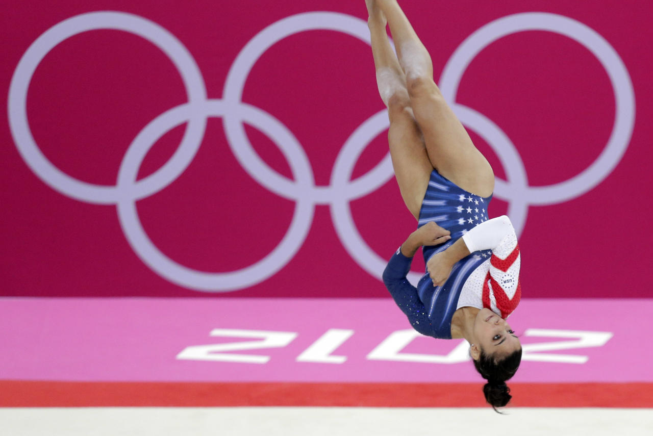 U.S. gymnast Alexandra Raisman performs during the artistic gymnastics women's floor exercise final at the 2012 Summer Olympics, Tuesday Aug. 7, 2012, in London. (AP Photo/Julie Jacobson)