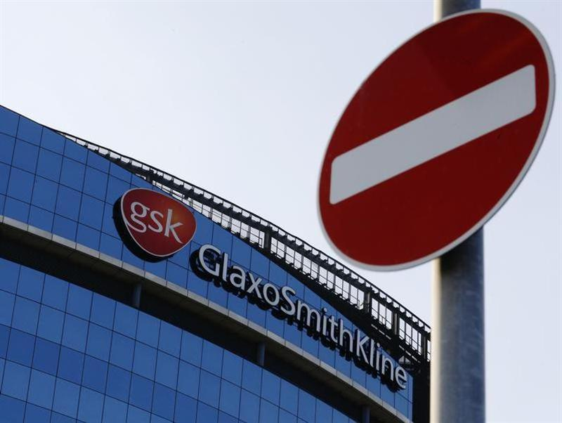 A no entry sign is pictured outside the GlaxoSmithKline building in Hounslow, west London