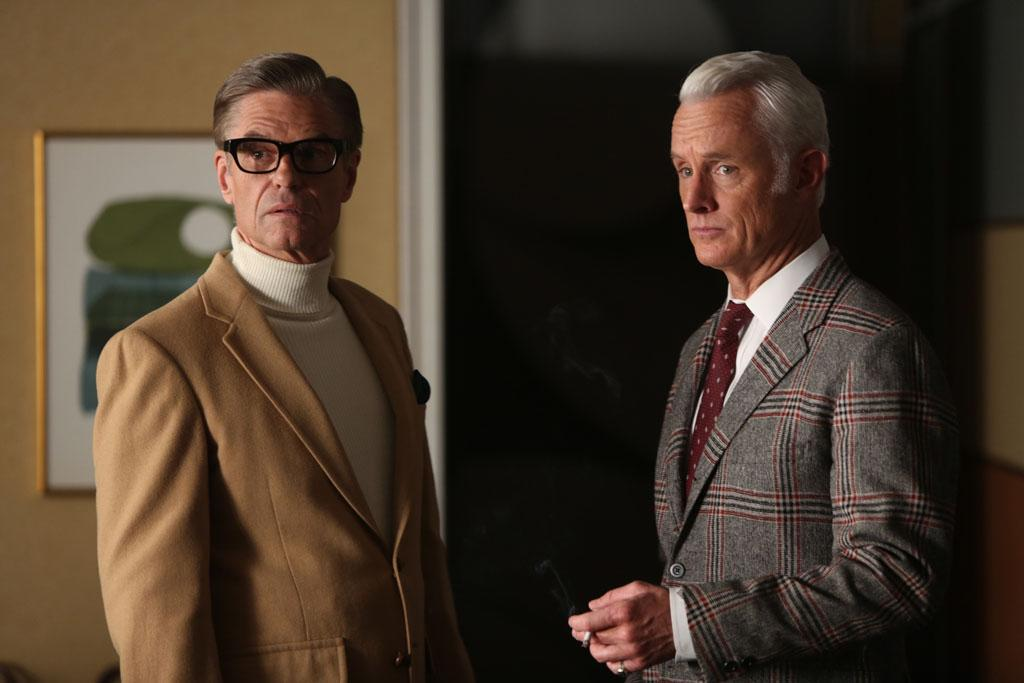"Jim Cutler (Harry Hamlin) and Roger Sterling (John Slattery) in the ""Mad Men"" Season 6 finale, ""In Care Of."""