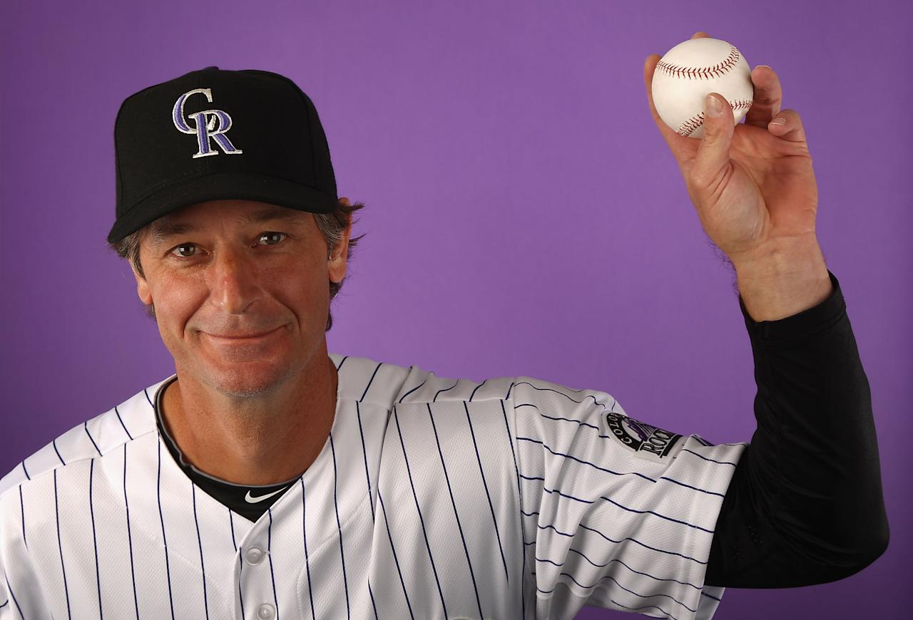 SCOTTSDALE, AZ - FEBRUARY 28:  Pitcher Jamie Moyer #50 of the Colorado Rockies poses for a portrait during spring training photo day at Salt River Fields at Talking Stick on February 28, 2012 in Scottsdale, Arizona.  (Photo by Christian Petersen/Getty Images)