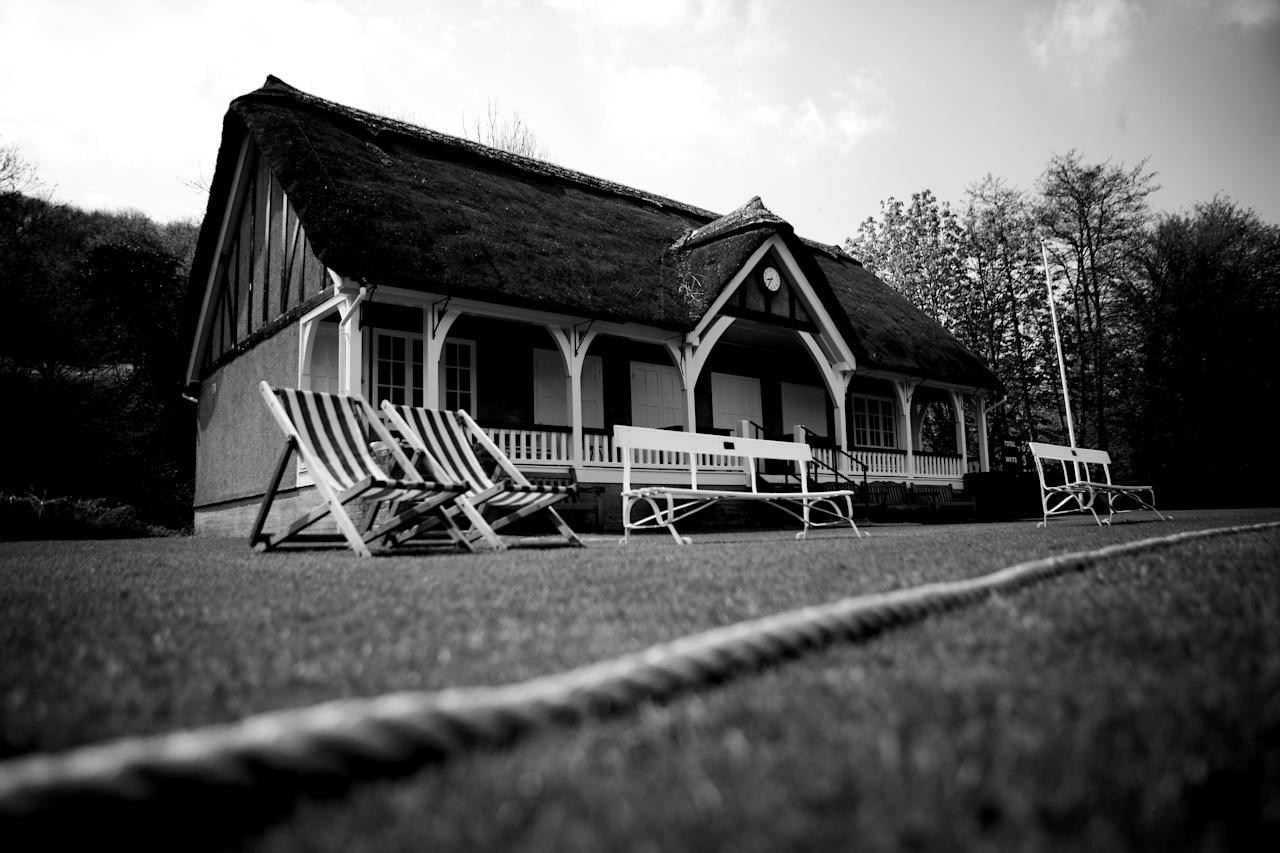 MONKTON COMBE, ENGLAND - APRIL 27: (EDITORS NOTE: Image has been shot in black and white. Color version not available.)  A general view the pavilion at Monkton Combe Cricket Club on April 27, 2008 in Monkton Combe, England.  (Photo by Laurence Griffiths/Getty Images)