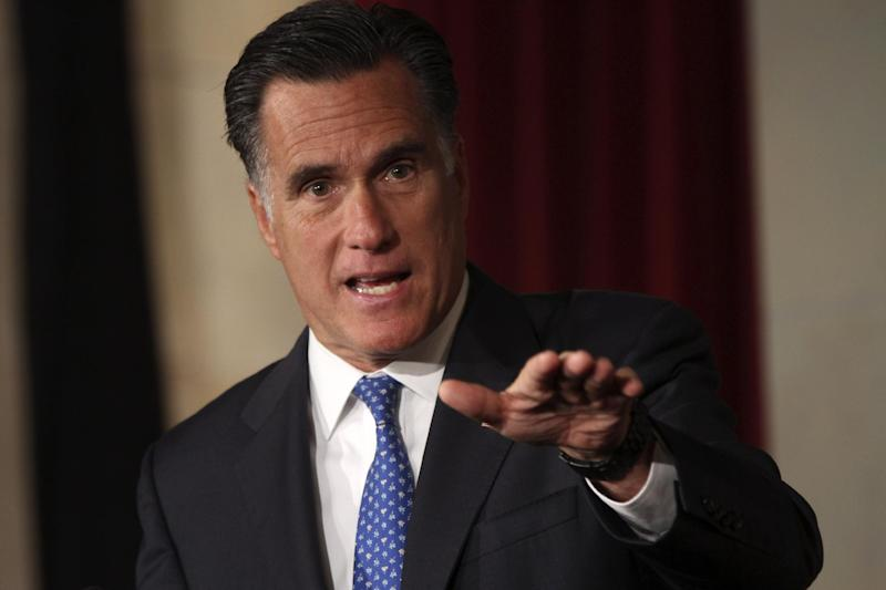 FILE - In this May 23, 2012 file photo, Republican presidential candidate, former Massachusetts Gov. Mitt Romney addresses the Latino Coalition's 2012 Small Business Summit in Washington. With a few strokes of his pen on a sleepy holiday six months after he became governor of Massachusetts, Mitt Romney quietly scuttled the state government's long-standing affirmative action policies. Eventually, he retreated. The likely Republican presidential nominee's handling of affirmative action may offer insights into how he would deal with civil rights issues if he defeats Barack Obama, the nation's first black president.  (AP Photo/Mary Altaffer, File)