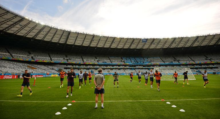 The England football team in a training session at the Mineirao Stadium in Belo Horizonte on June 23, 2014