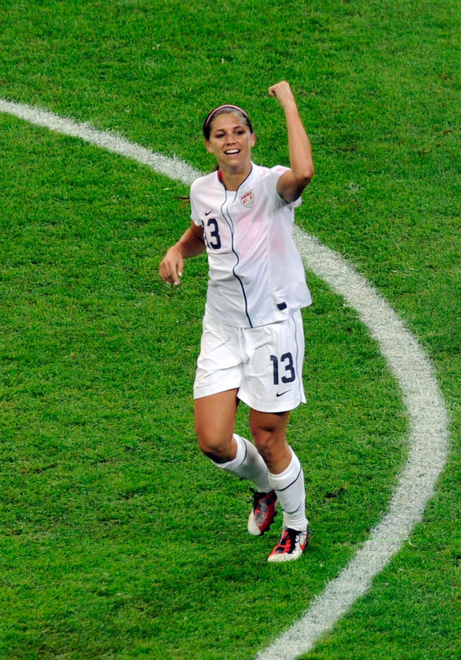 FRANKFURT AM MAIN, GERMANY - JULY 17:  Alex Morgan of United States celebrates after scoring her teams first goal during the FIFA Womens's World Cup Final between the United States of America and Japan at FIFA Word Cup stadium on July 17, 2011 in Frankfurt am Main, Germany.  (Photo by Thorsten Wagner/Getty Images)