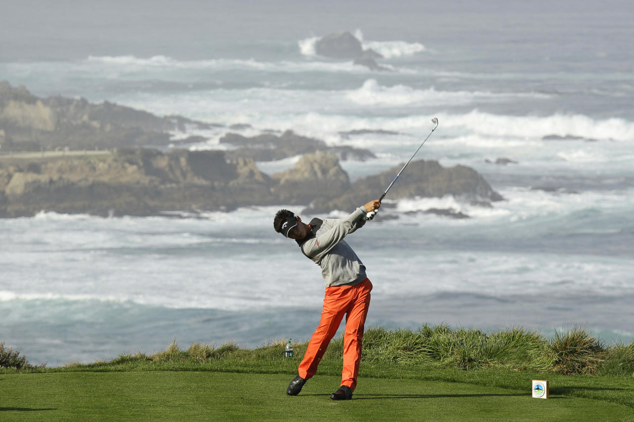 Danny Lee, of New Zealand, hits from the fourth tee of the Spyglass Hill Golf Course during the second round of the AT&T Pebble Beach National Pro-Am PGA Tour golf tournament in Pebble Beach, Calif., Friday, Feb. 10, 2012. (AP Photo/Eric Risberg)