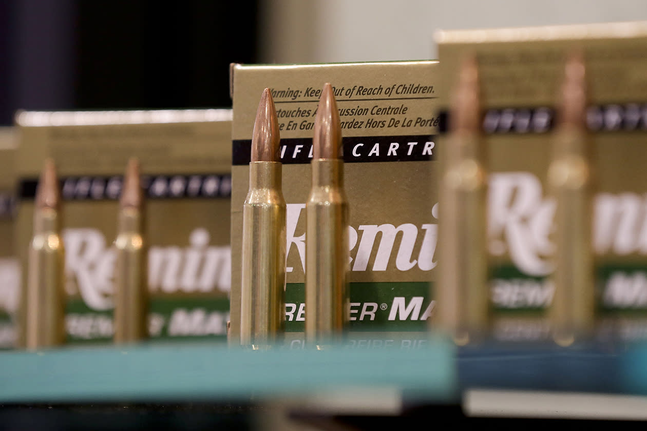 Remington rifle cartridges are displayed at the 35th annual SHOT Show.