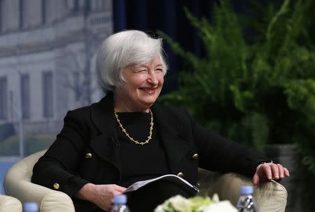 U.S. Federal Reserve Chair Yellen smiles at the inaugural Michel Camdessus Central Banking Lecture in Washington