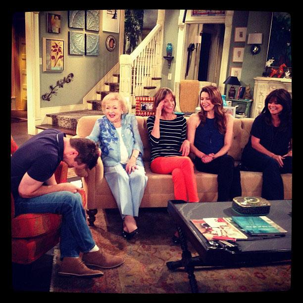 """""""Cracking up executive producer Sean Hayes during our interview... Not hard to do! With Wendie Malick, Jane Leeves and Valerie Bertinelli."""""""