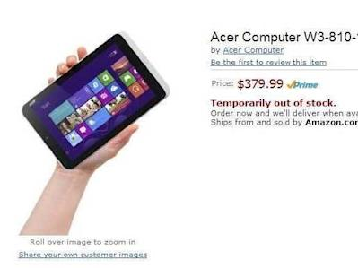 acer 8 inch windows 8 tablet leaks on amazon