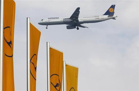 Airplane of German air carrier Lufthansa lands at the airline's main hub in Frankfurt
