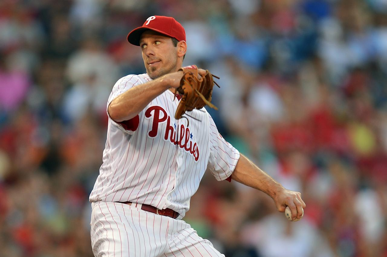 PHILADELPHIA, PA - JULY 05: Starting pitcher Cliff Lee #33 of the Philadelphia Phillies delivers a pitch in the third inning against the Atlanta Braves at Citizens Bank Park on July 5, 2013 in Philadelphia, Pennsylvania. (Photo by Drew Hallowell/Getty Images)