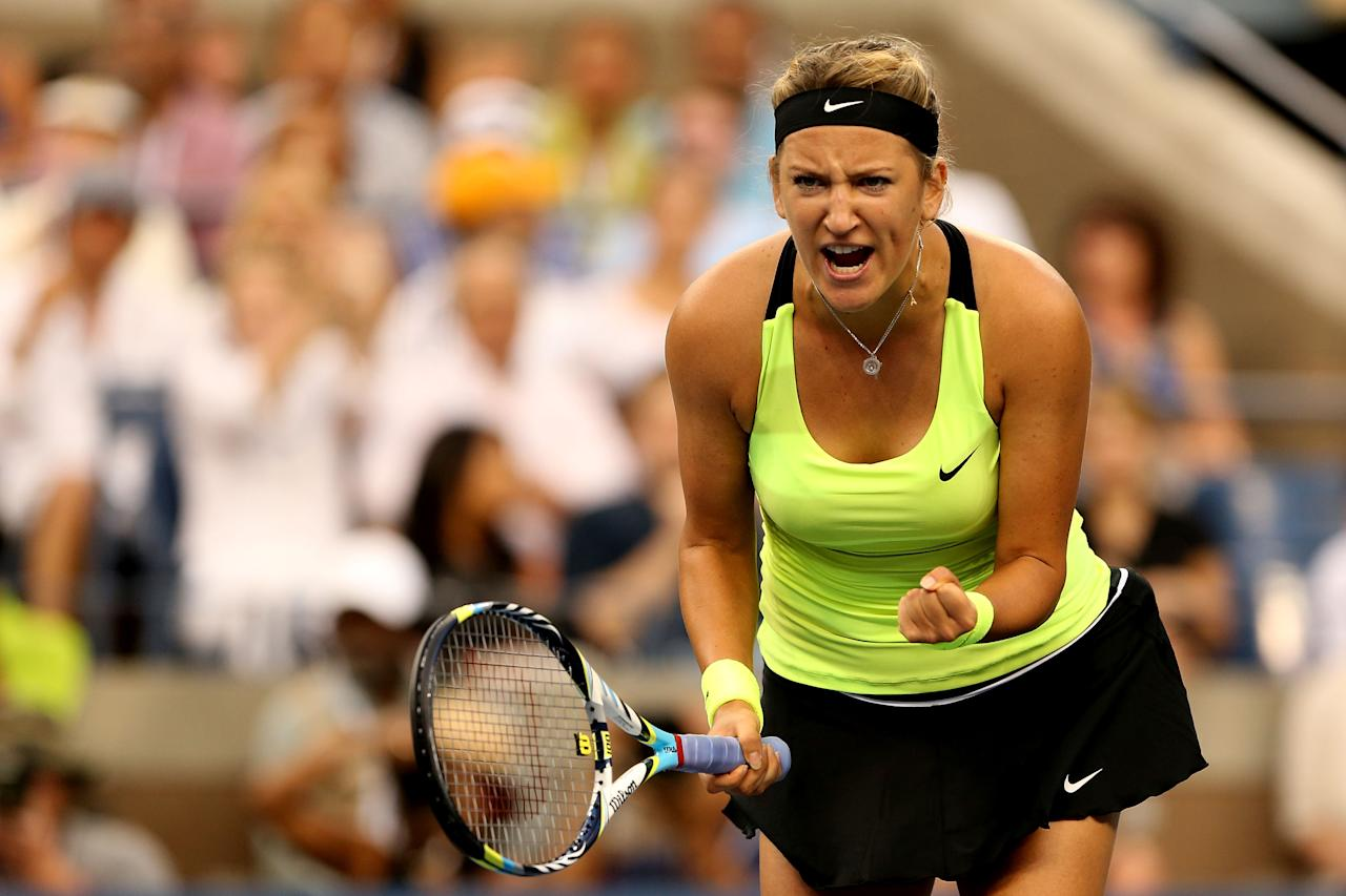 NEW YORK, NY - SEPTEMBER 09:  Victoria Azarenka of Belarus celebrates a point during the women's singles final match against Serena Williams of the United States on Day Fourteen of the 2012 US Open at USTA Billie Jean King National Tennis Center on September 9, 2012 in the Flushing neighborhood of the Queens borough of New York City.  (Photo by Matthew Stockman/Getty Images)