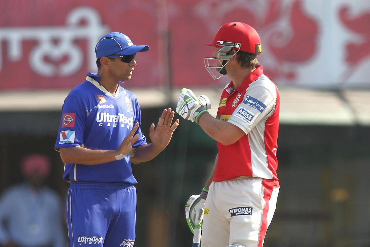 Rajasthan Royals captain Rahul Dravid tries to cool things down with Kings XI Punjab captain Adam Gilchrist after an allocation during match 55 of of the Pepsi Indian Premier League between The Kings XI Punjab and the Rajasthan Royals held at the PCA Stadium, Mohali, India on the 9th May 2013..Photo by Shaun Roy-IPL-SPORTZPICS  ..Use of this image is subject to the terms and conditions as outlined by the BCCI. These terms can be found by following this link:..http://www.sportzpics.co.za/image/I0000SoRagM2cIEc