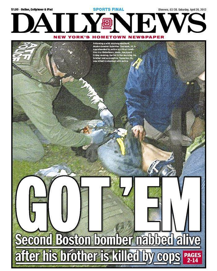 """Got 'Em."" New York Daily News, April 20, 2013."